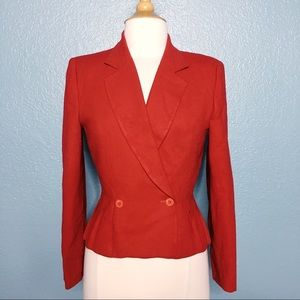 Christian Dior   Red Wool Peplum Suit Jacket